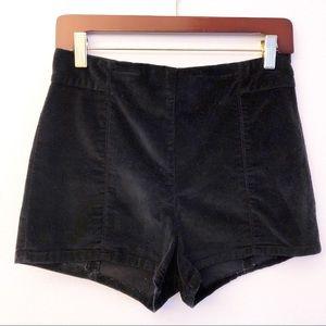 KIMCHI BLUE Velvet High Waisted Back Zip Shorts